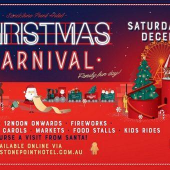 Christmas carnival Sandstone Point hotel, christmas tree, rides, Santa