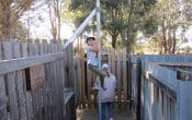 Girl climbing pole in Granite Belt Maze