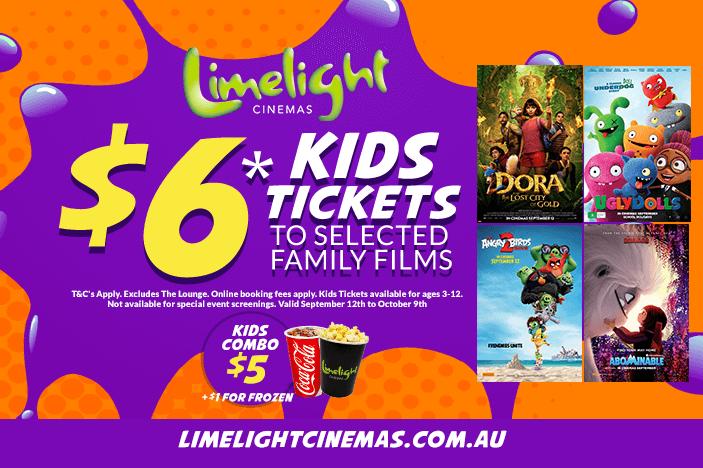 limelight cinemas September 2019 deals, angry birds 2, Dora