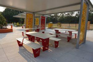 shaded picnic shelter awarna hills playground