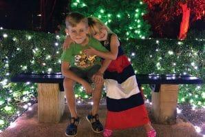 Christmas Wonderland Nerima Gardens, kids sitting amongst christmas lights