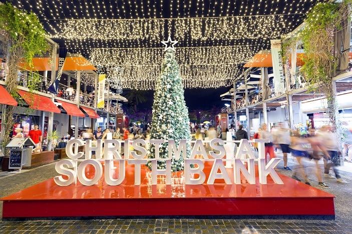 Christmas at South Bank, christmas tree and South Bank sign in lights, fairy lights, Christmas lights