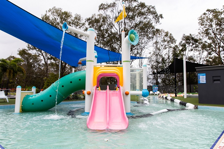 water slides, pink and green