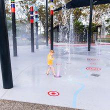 Logan Gardens water play pop jet plaza