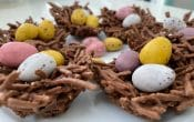 Chocolate Easter nests with eggs