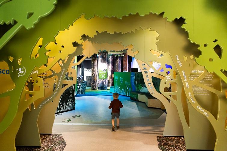 child walking through karawatha exhibit