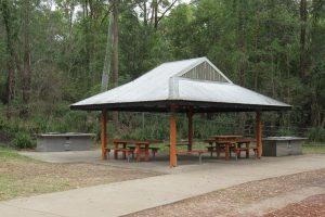 picnic shelter in bushland