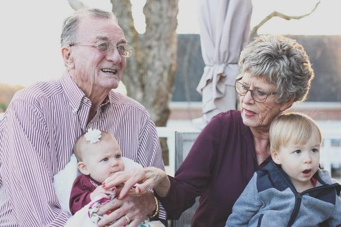 Grandparents with grandchildren outdoors