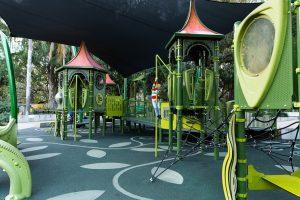 shady green coloured playground