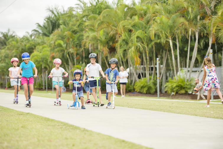 Kids on bike path at Brisbane Holiday Village