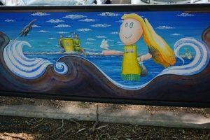 fun mural on wall in ashgrove playground