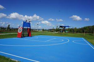 blue coloured half court at caboolture moreton bay region