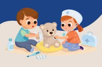 Cub Care cartoon girl and boy helping teddy bear playing doctor
