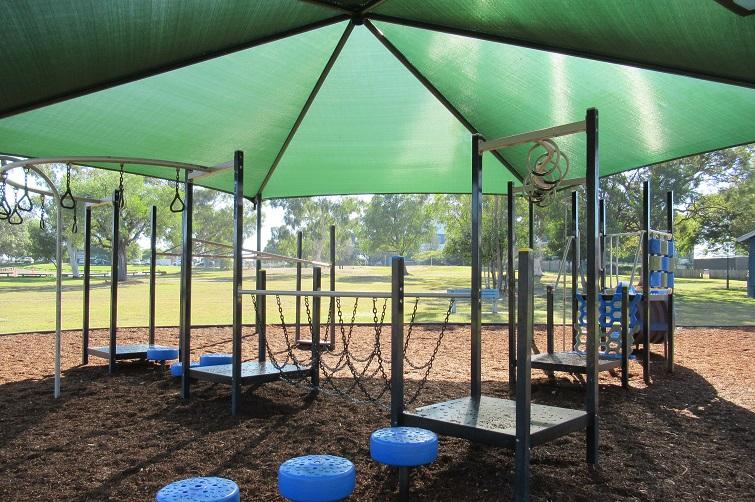 shade sails over park