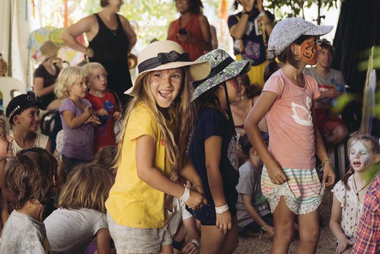 kids having fun wearing facepaint at Woodfordia Bushtime