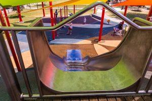 slippery slide opening in playground