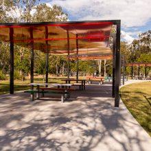 Logan Gardens shaded picnic tables