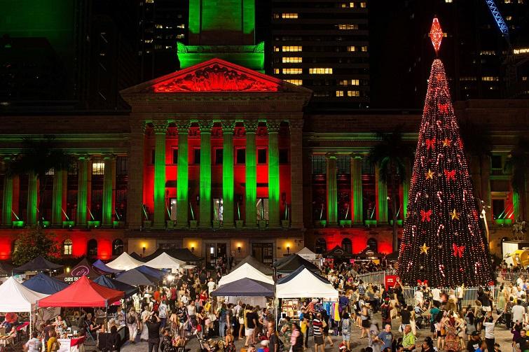 Brisbane Christmas Markets, city hall christmas lights, christmas tree