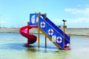 Slide into wading pool