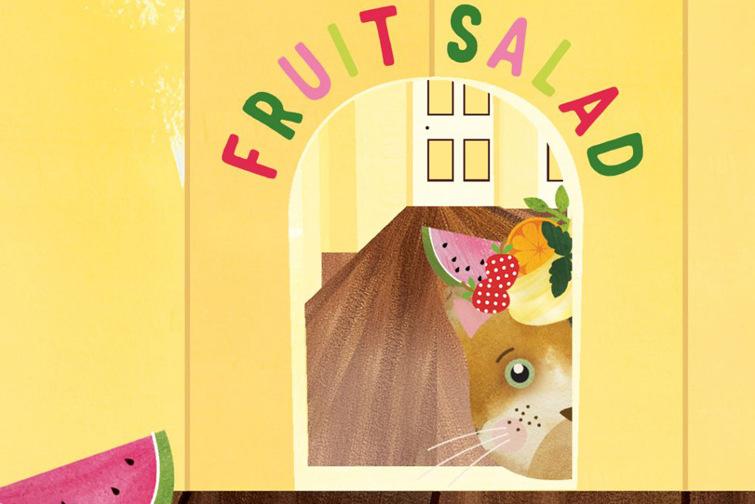 Image of cat peeking through doorway Fruit Salad