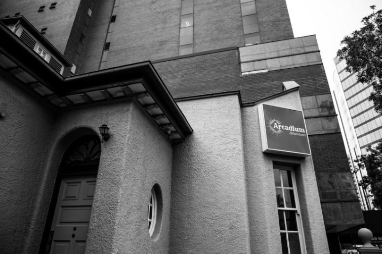 Black and white external photo of Arcadium Adventures building