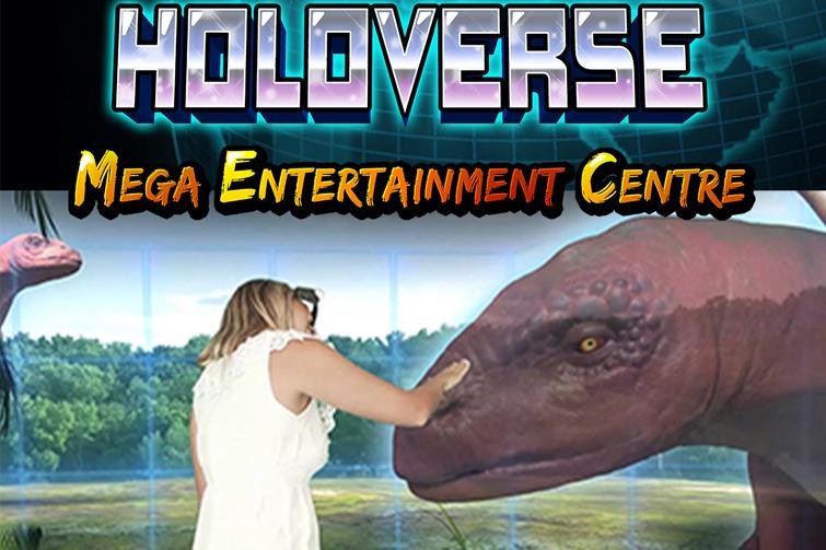 Girl patting holographic dinosaur