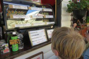 Kids looking at food stall