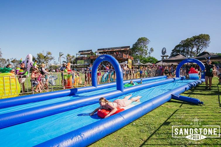 50 metre slip n slide Australia day Sandstone Point hotel