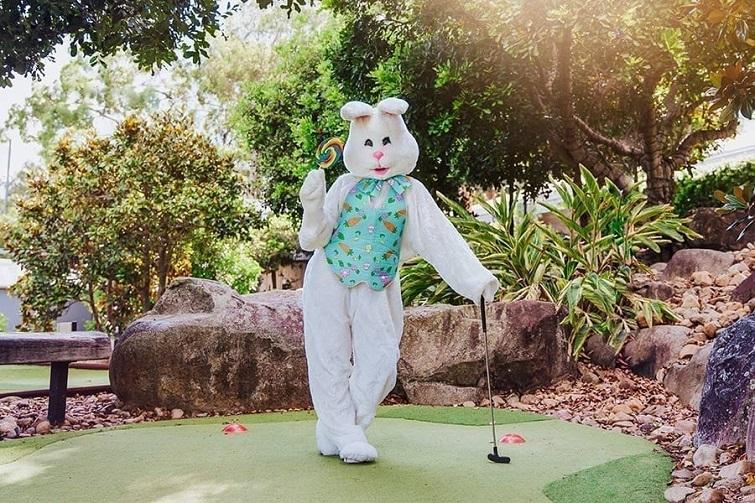 Easter bunny plating Putt putt at Victoria Park