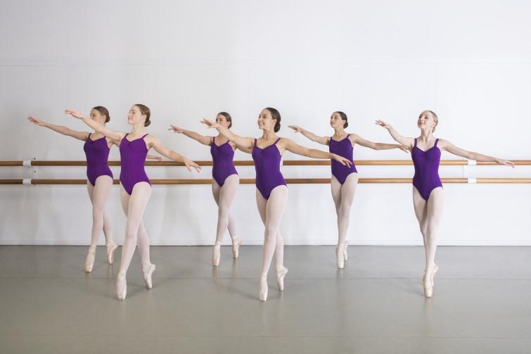 Group of ballet dancers in purple leotards