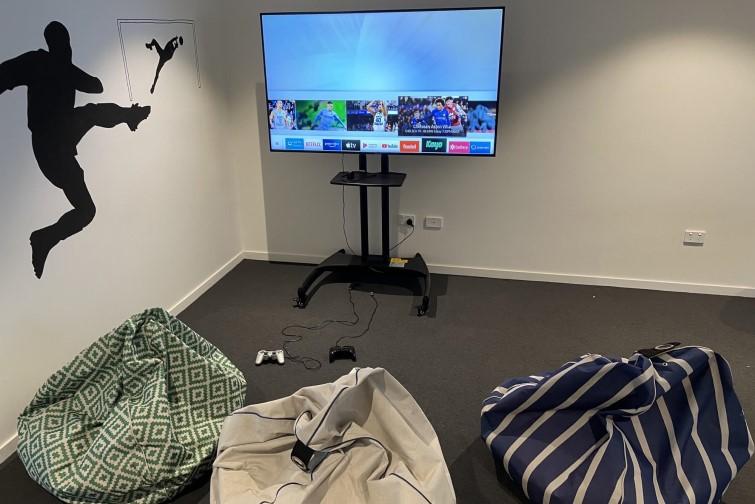 Gaming room at H28 football academy