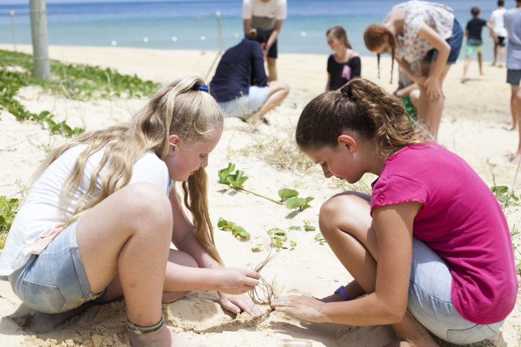 Children on excursion looking at items in the sand
