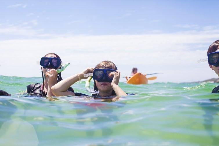 Children in the water snorkelling