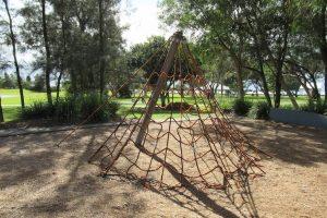 Climbing net and trees at Decker Park.