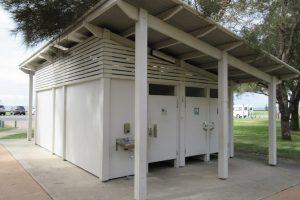 White toilet block at Decker Park.