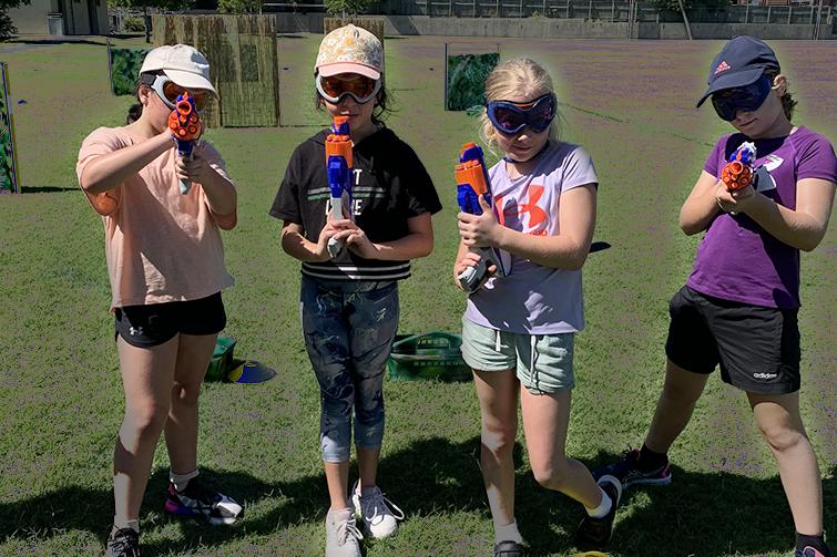 Children with Nerf guns
