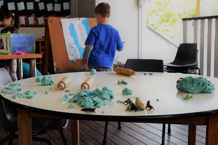 play dough table indoors at Staverton Kindergarten