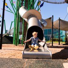 Aura treehouse slide fun