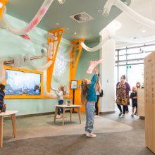 Ipswich Children's Library fun tubes catching fabric
