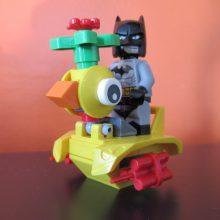 A Lego duck and Batman at Coffee n Bricks Cafe.