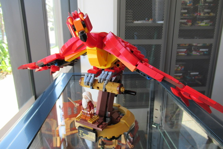 Red Lego Harry Potter Phoenix at Coffee n Bricks Cafe.